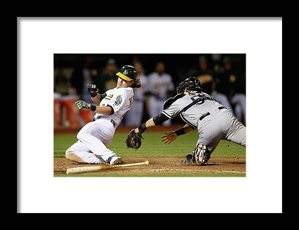 People Framed Print featuring the photograph Josh Reddick, Billy Butler, and Geovany Soto by Ezra Shaw
