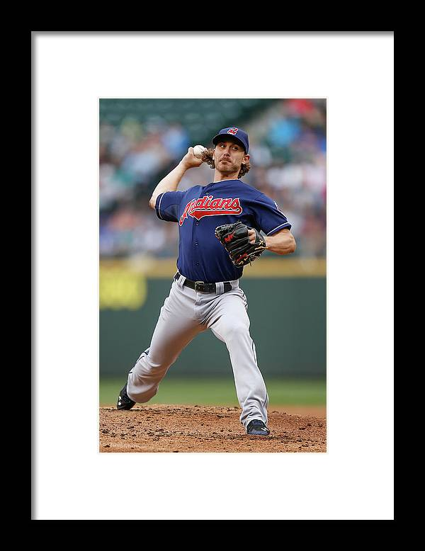 American League Baseball Framed Print featuring the photograph Josh Tomlin by Otto Greule Jr