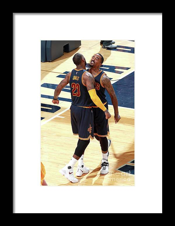 Playoffs Framed Print featuring the photograph J.r. Smith and Lebron James by Jeff Haynes