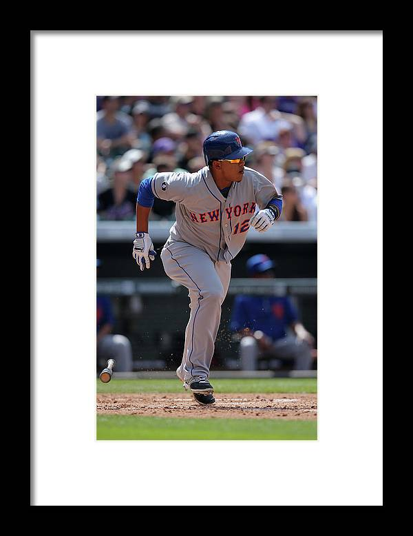 National League Baseball Framed Print featuring the photograph Juan Lagares by Doug Pensinger