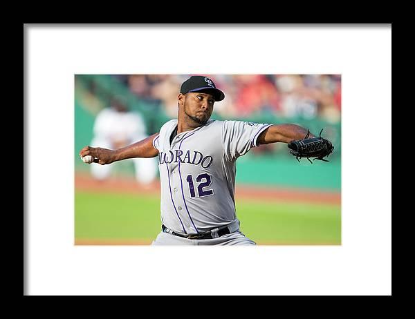 American League Baseball Framed Print featuring the photograph Juan Nicasio by Jason Miller