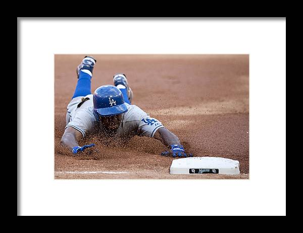 Hard Rock Stadium Framed Print featuring the photograph Juan Pierre by Ronald C. Modra/sports Imagery
