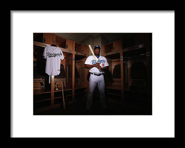 Media Day Framed Print featuring the photograph Juan Uribe by Christian Petersen