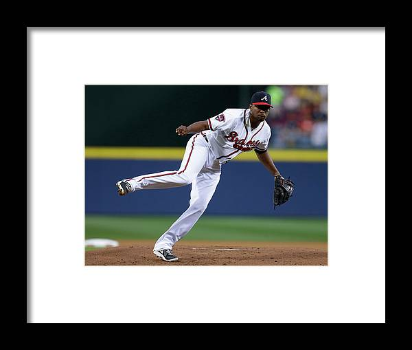 Atlanta Framed Print featuring the photograph Julio Teheran by Mike Zarrilli