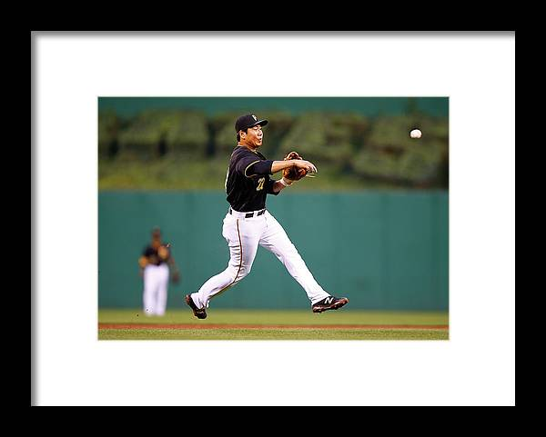 Second Inning Framed Print featuring the photograph Jung Ho Kang by Jared Wickerham