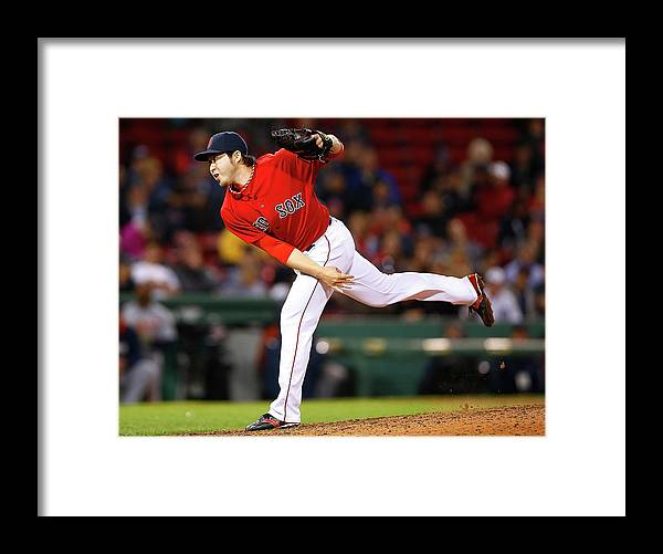 American League Baseball Framed Print featuring the photograph Junichi Tazawa by Jared Wickerham