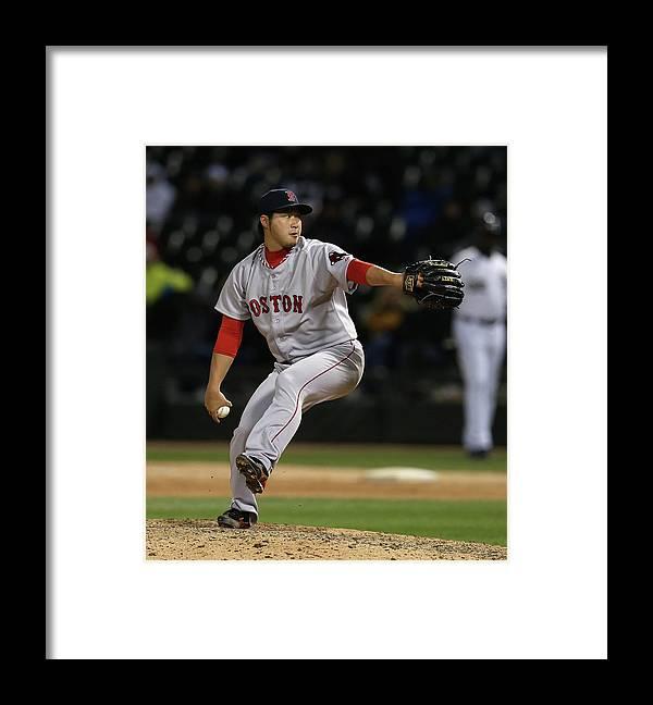 American League Baseball Framed Print featuring the photograph Junichi Tazawa by Jonathan Daniel