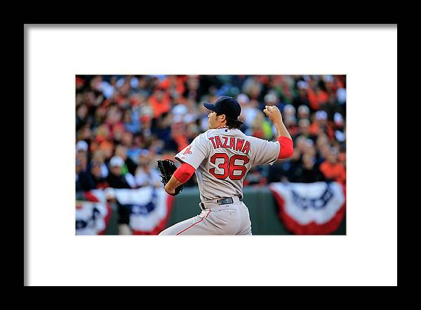 American League Baseball Framed Print featuring the photograph Junichi Tazawa by Rob Carr