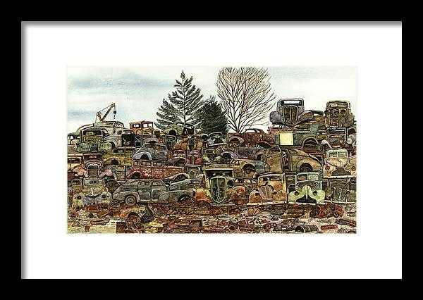 Old Cars Framed Print featuring the painting Junkyard No.1 by Ron Morrison