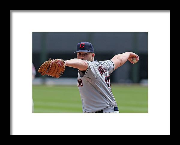 American League Baseball Framed Print featuring the photograph Justin Masterson by Jonathan Daniel
