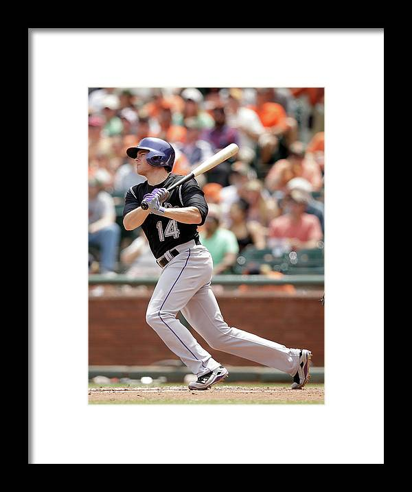San Francisco Framed Print featuring the photograph Justin Morneau and Josh Rutledge by Ezra Shaw