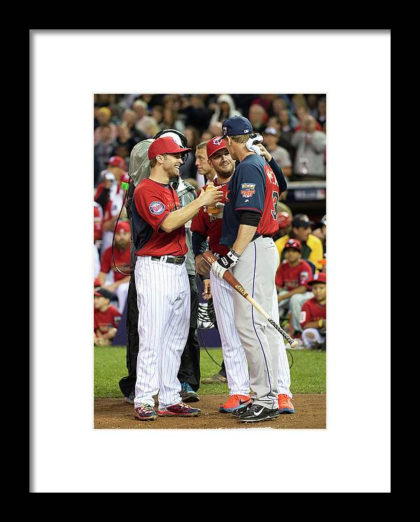 American League Baseball Framed Print featuring the photograph Justin Morneau, Glen Perkins, and Brian Dozier by Ron Vesely