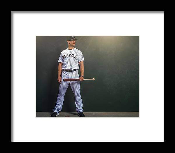 Media Day Framed Print featuring the photograph Justin Morneau by Rob Tringali