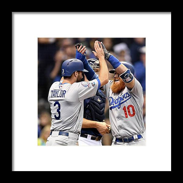 Game Two Framed Print featuring the photograph Justin Turner, Chris Taylor, and Jeremy Jeffress by Stacy Revere