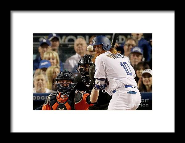 People Framed Print featuring the photograph Justin Turner by Christian Petersen