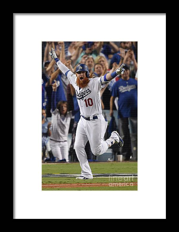 Game Two Framed Print featuring the photograph Justin Turner by Kevork Djansezian