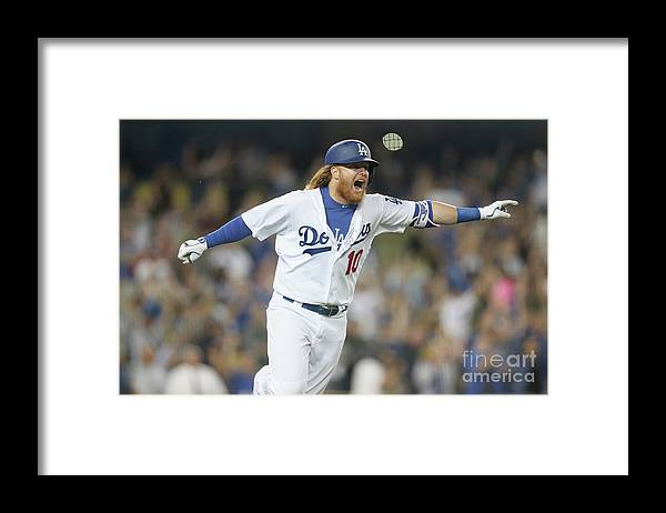 Three Quarter Length Framed Print featuring the photograph Justin Turner by Stephen Dunn