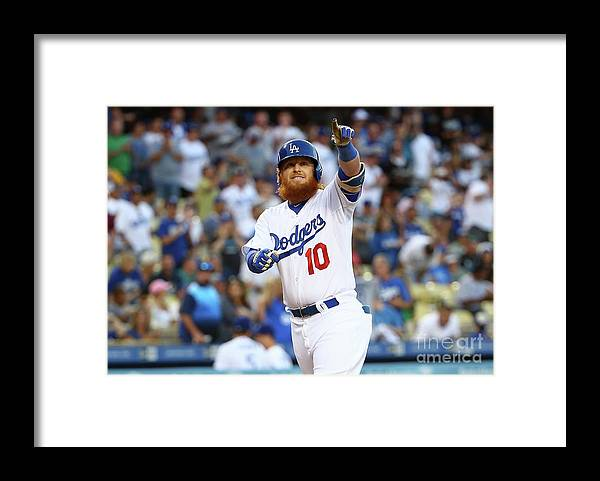 Three Quarter Length Framed Print featuring the photograph Justin Turner by Victor Decolongon