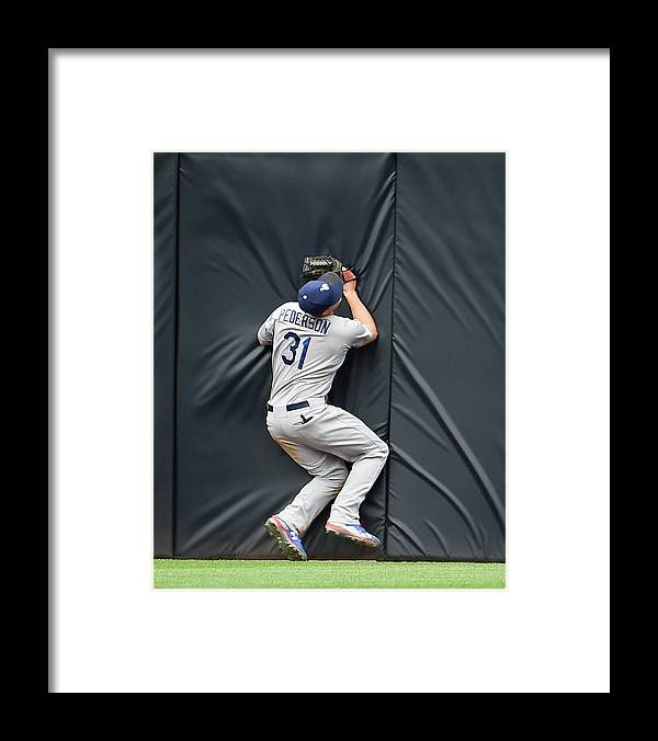 Ninth Inning Framed Print featuring the photograph Justin Upton and Joc Pederson by Denis Poroy