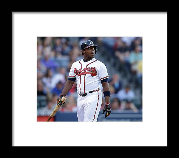 Atlanta Framed Print featuring the photograph Justin Upton by Mike Zarrilli