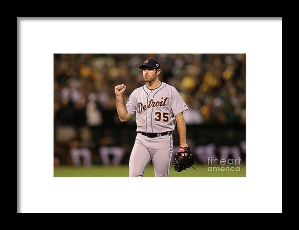 Playoffs Framed Print featuring the photograph Justin Verlander and Coco Crisp by Ezra Shaw