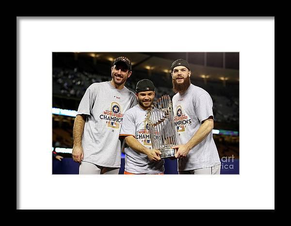 Three Quarter Length Framed Print featuring the photograph Justin Verlander And Dallas Keuchel by Ezra Shaw