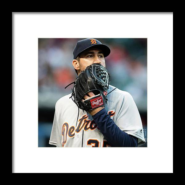 People Framed Print featuring the photograph Justin Verlander and Francisco Lindor by Jason Miller