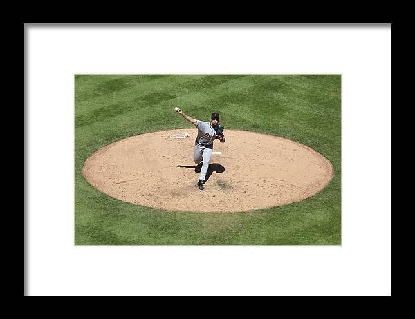 American League Baseball Framed Print featuring the photograph Justin Verlander by Ed Zurga