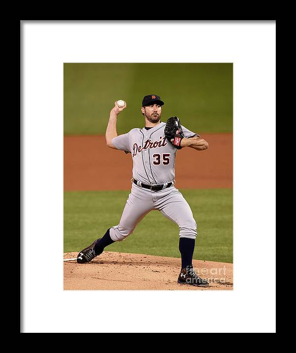 Game Two Framed Print featuring the photograph Justin Verlander by Hannah Foslien