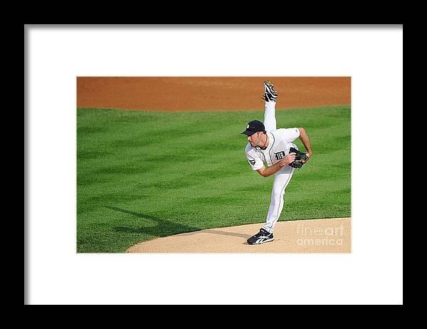 American League Baseball Framed Print featuring the photograph Justin Verlander by Kevork Djansezian
