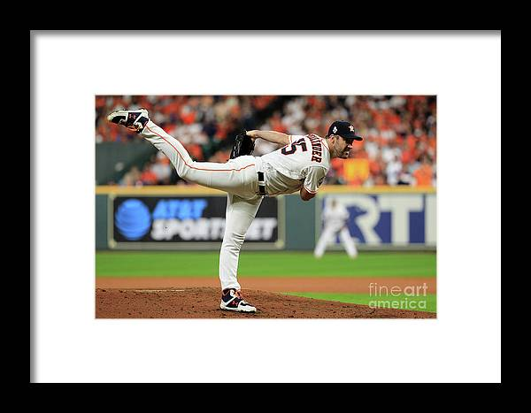 American League Baseball Framed Print featuring the photograph Justin Verlander by Mike Ehrmann