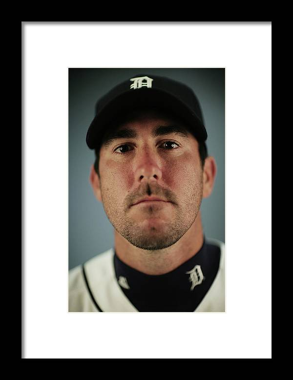 Media Day Framed Print featuring the photograph Justin Verlander by Nick Laham