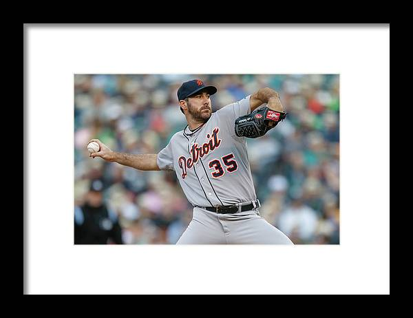 American League Baseball Framed Print featuring the photograph Justin Verlander by Otto Greule Jr