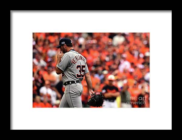 Game Two Framed Print featuring the photograph Justin Verlander by Patrick Smith