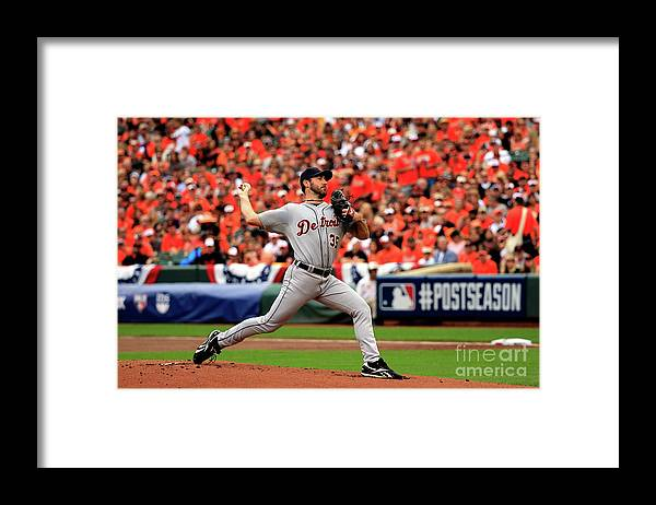 Game Two Framed Print featuring the photograph Justin Verlander by Rob Carr
