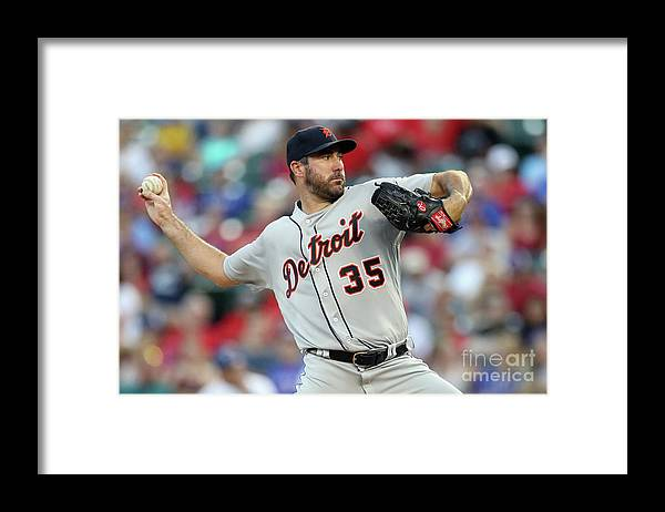 Second Inning Framed Print featuring the photograph Justin Verlander by Ronald Martinez