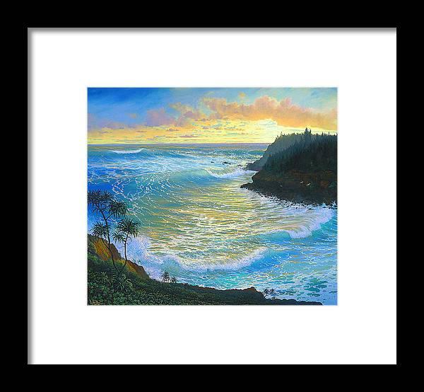 Sunrise Framed Print featuring the painting Ka Puka Alua Sunrise At Piahi AKA Jawz Painted At Actual Location On Maui by Loren Adams