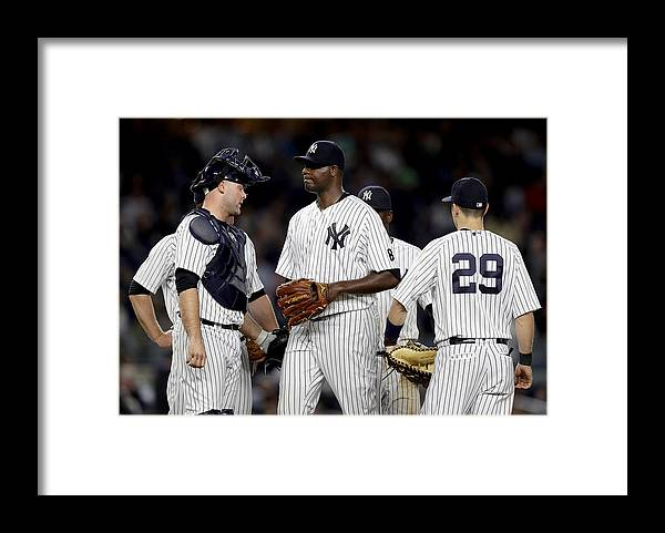 Brian Mccann Framed Print featuring the photograph Kansas City Royals v New York Yankees by Elsa