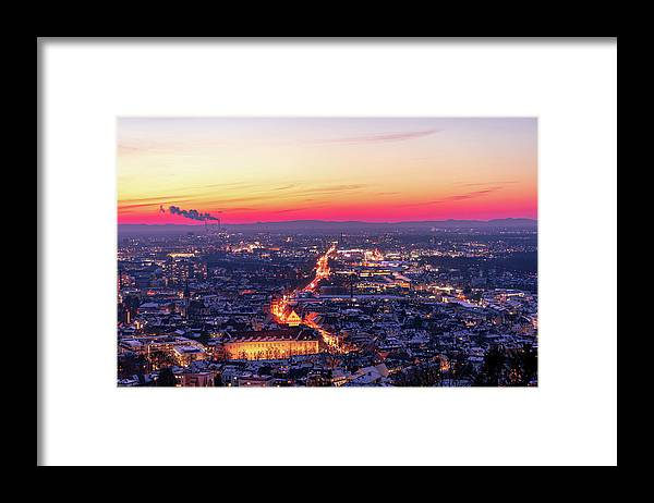 Karlsruhe Framed Print featuring the photograph Karlsruhe in winter at sunset by Hannes Roeckel