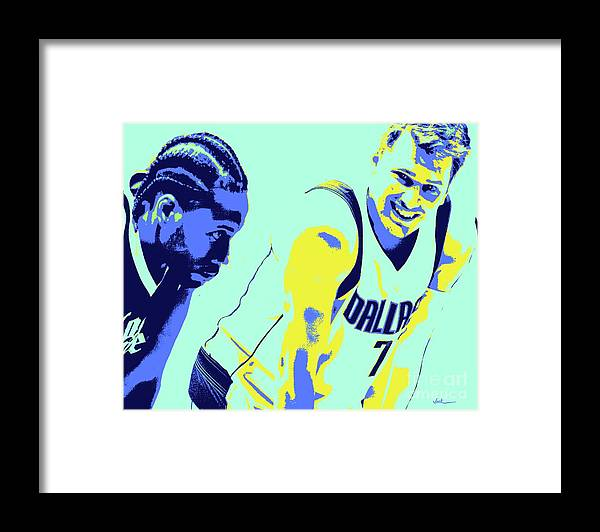 Kawhi Framed Print featuring the painting Kawhi and Luca by Jack Bunds