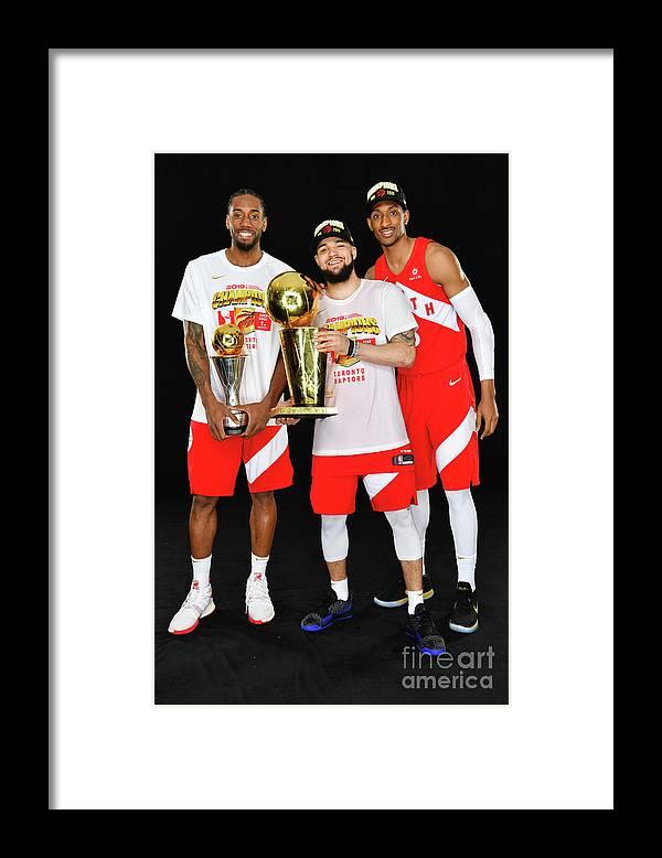 Playoffs Framed Print featuring the photograph Kawhi Leonard, Fred Vanvleet, and Malcolm Miller by Jesse D. Garrabrant