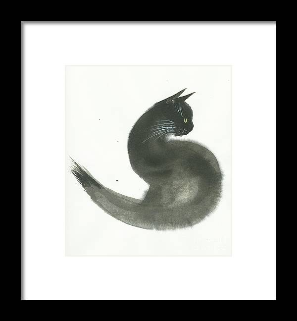 A Black Cat With Green Eyes Is Looking Intensely Ahead. It's A Simple Contemporary Chinese Brush Painting On Rice Paper. Framed Print featuring the painting Keen by Mui-Joo Wee