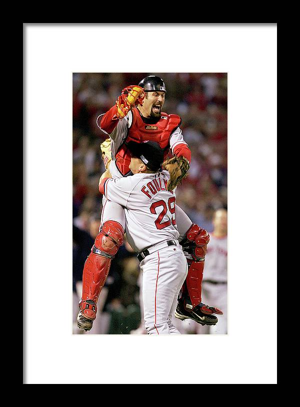 Celebration Framed Print featuring the photograph Keith Foulke And Jason Varitek by Jed Jacobsohn
