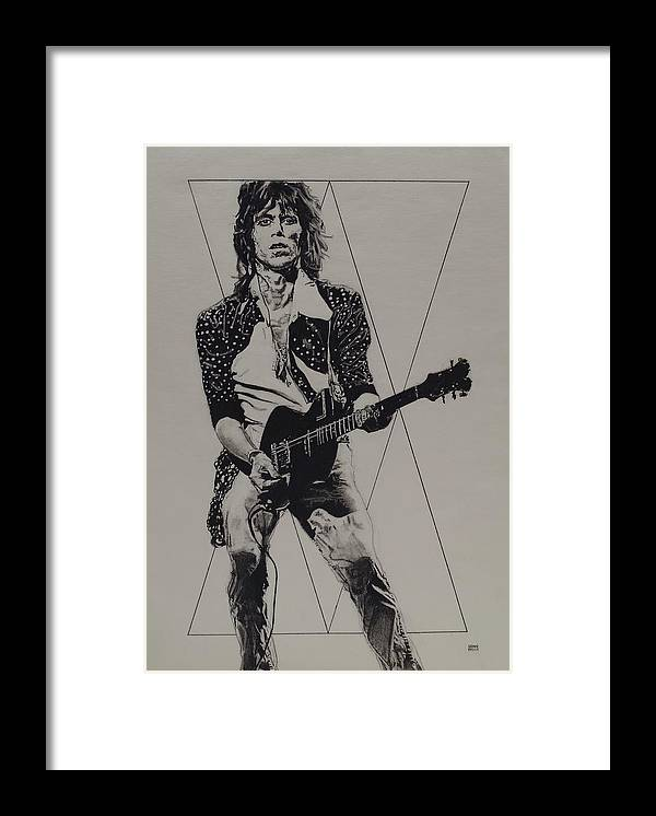 Charcoal Pencil Drawing Framed Print featuring the drawing Keith Richards - Happy by Sean Connolly