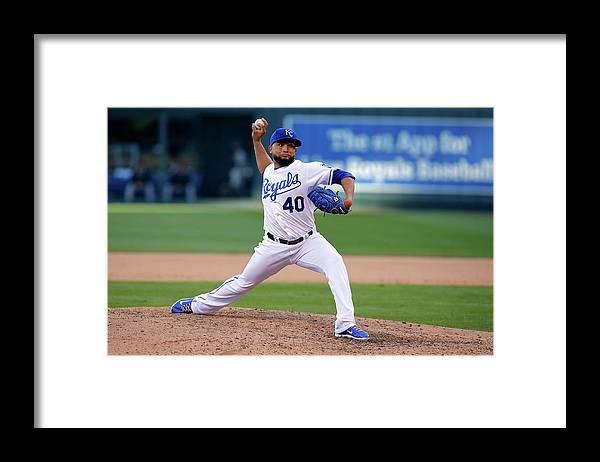 American League Baseball Framed Print featuring the photograph Kelvin Herrera by Ed Zurga