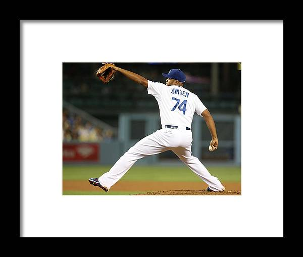 Ninth Inning Framed Print featuring the photograph Kenley Jansen by Stephen Dunn