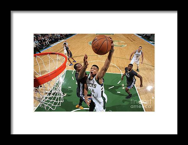 Nba Pro Basketball Framed Print featuring the photograph Kevin Durant and Giannis Antetokounmpo by Gary Dineen