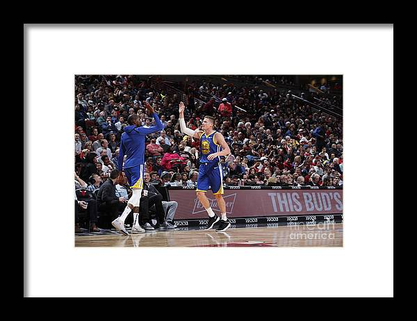 Nba Pro Basketball Framed Print featuring the photograph Kevin Durant and Jonas Jerebko by Jeff Haynes