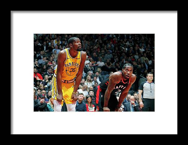 Nba Pro Basketball Framed Print featuring the photograph Kevin Durant and Kawhi Leonard by Mark Blinch