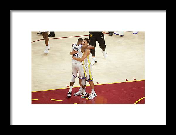Playoffs Framed Print featuring the photograph Kevin Durant and Klay Thompson by Mark Blinch